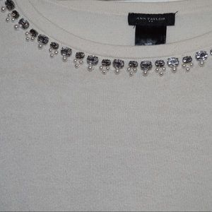 White Anne Taylor Sweater with Diamond/Pearls